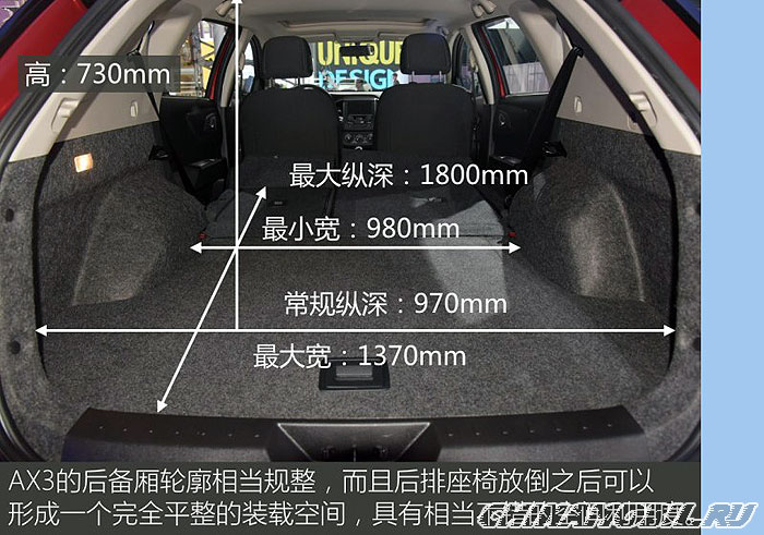 Dongfeng Fengshen AX3: Trunk size