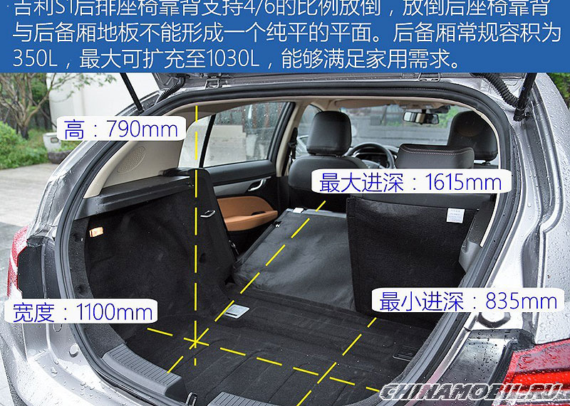 Geely Vision S1: Trunk size
